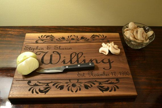 Engraved cutting boards wood initial cutting by CozyHomeDecors