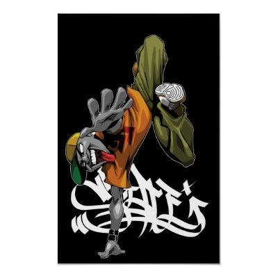 BBOY pose poster with graf
