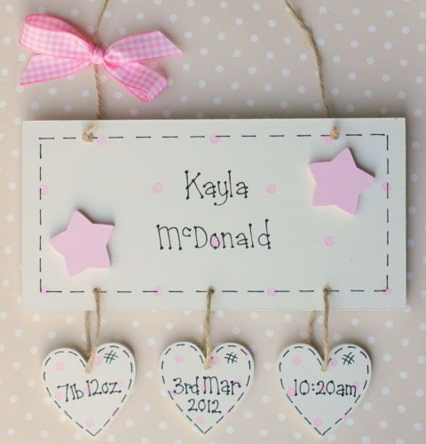 Personalised Wooden Newborn Gift Baby Girl Boy Plaque Creation