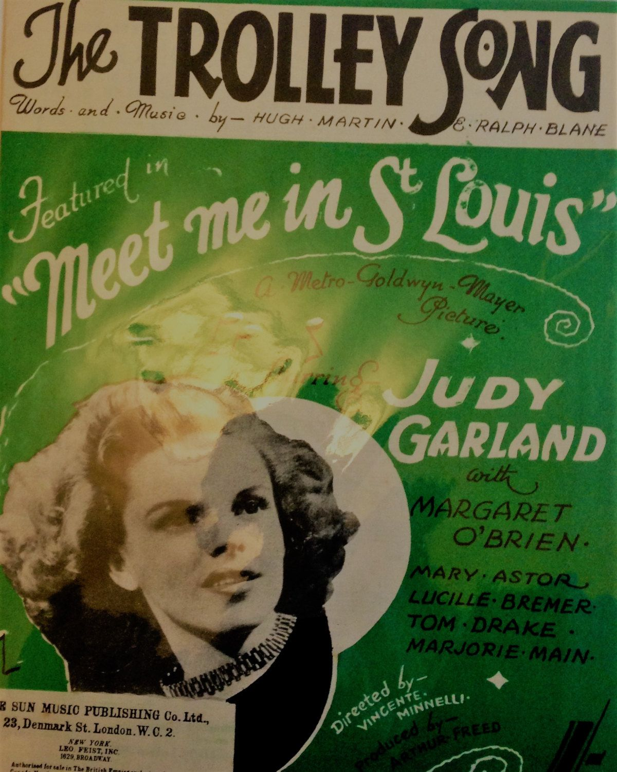 vintage sheet music the trolley song sung by judy garland in vintage sheet music the trolley song sung by judy garland in the film