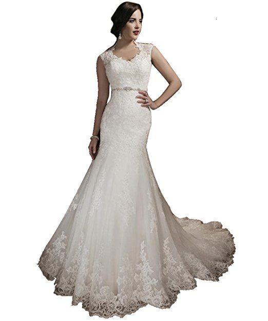 Tianshikeer Spitze Meerjungfrau Tüll Lang Hochzeitskleid Elegant ...