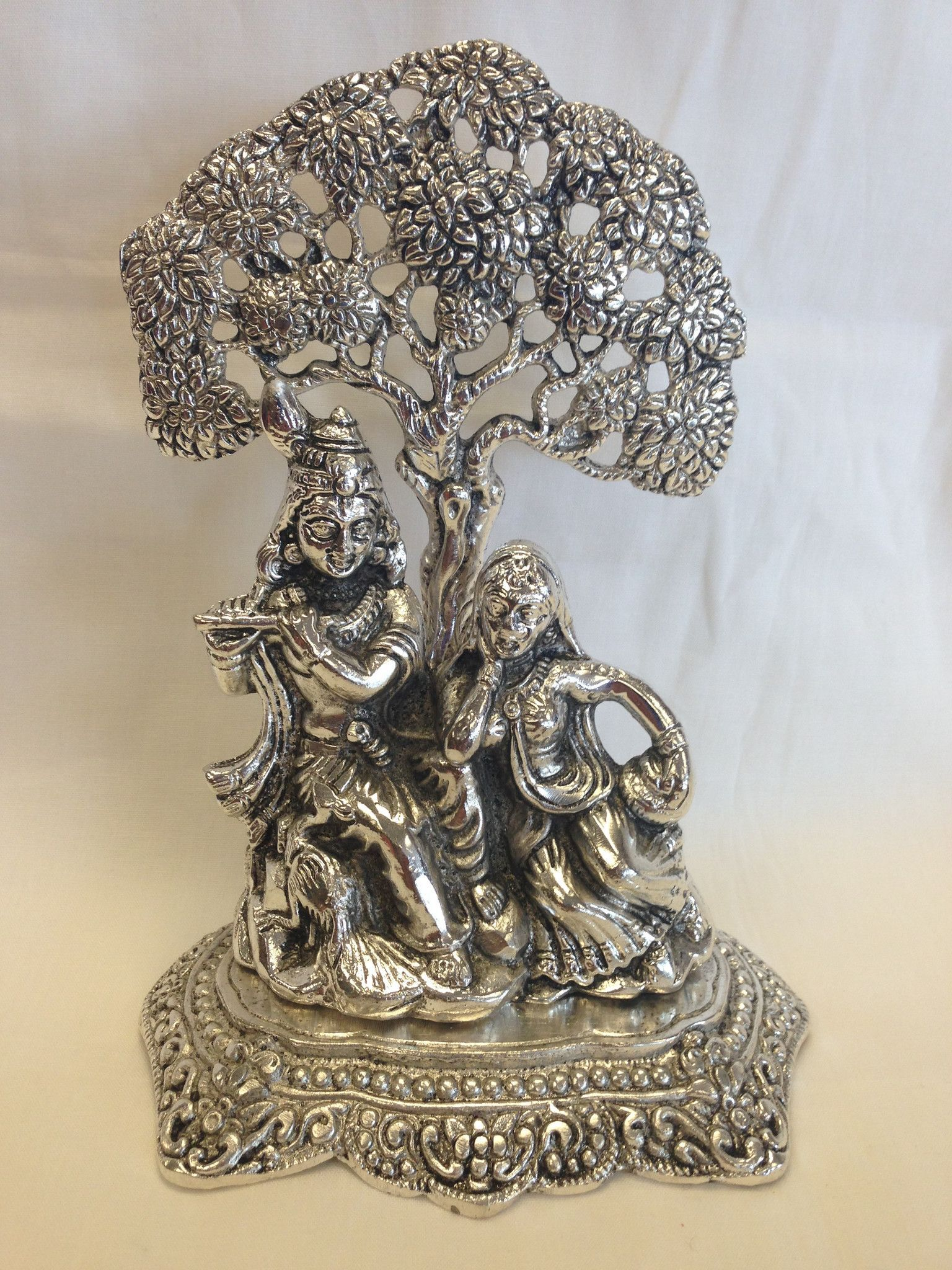 Statue Of White Metal Radha Krishna With Flute Under Tree Indian