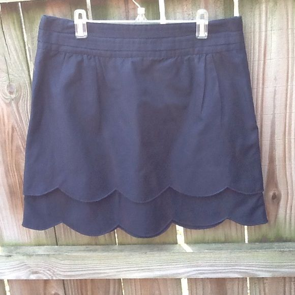 Anthropologie Floreat Navy Scalloped Mini Skirt New without tags. Silk blend…