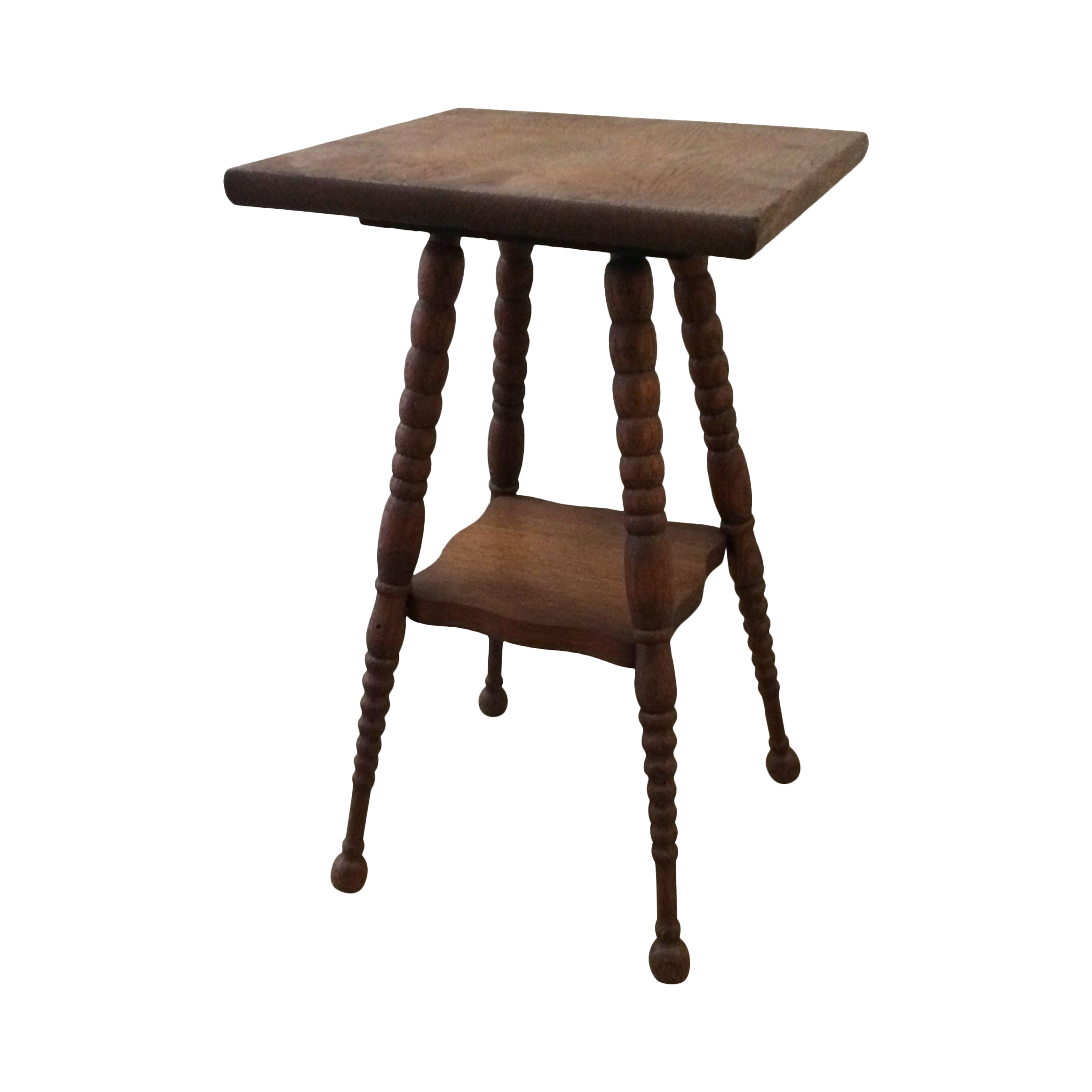 A Petite Vintage Side Table With Beautiful Spindle Leg Details And A  Functional Bottom Shelf.