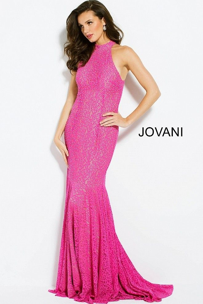 Jovani 25100 High Neck Racerback Lace Gown | Confident, Neckline and ...