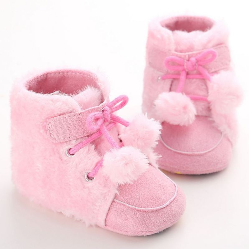 Kids Princess Winter Warm Booties Newborn Baby Girls Boys Bowknot Fleece  Snow Boots Shoes Baby Shoes 67cc00916809