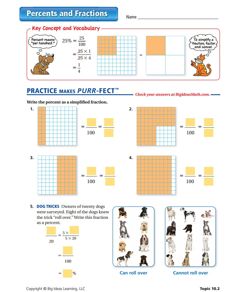 Percents and Fractions Worksheet Fractions worksheets