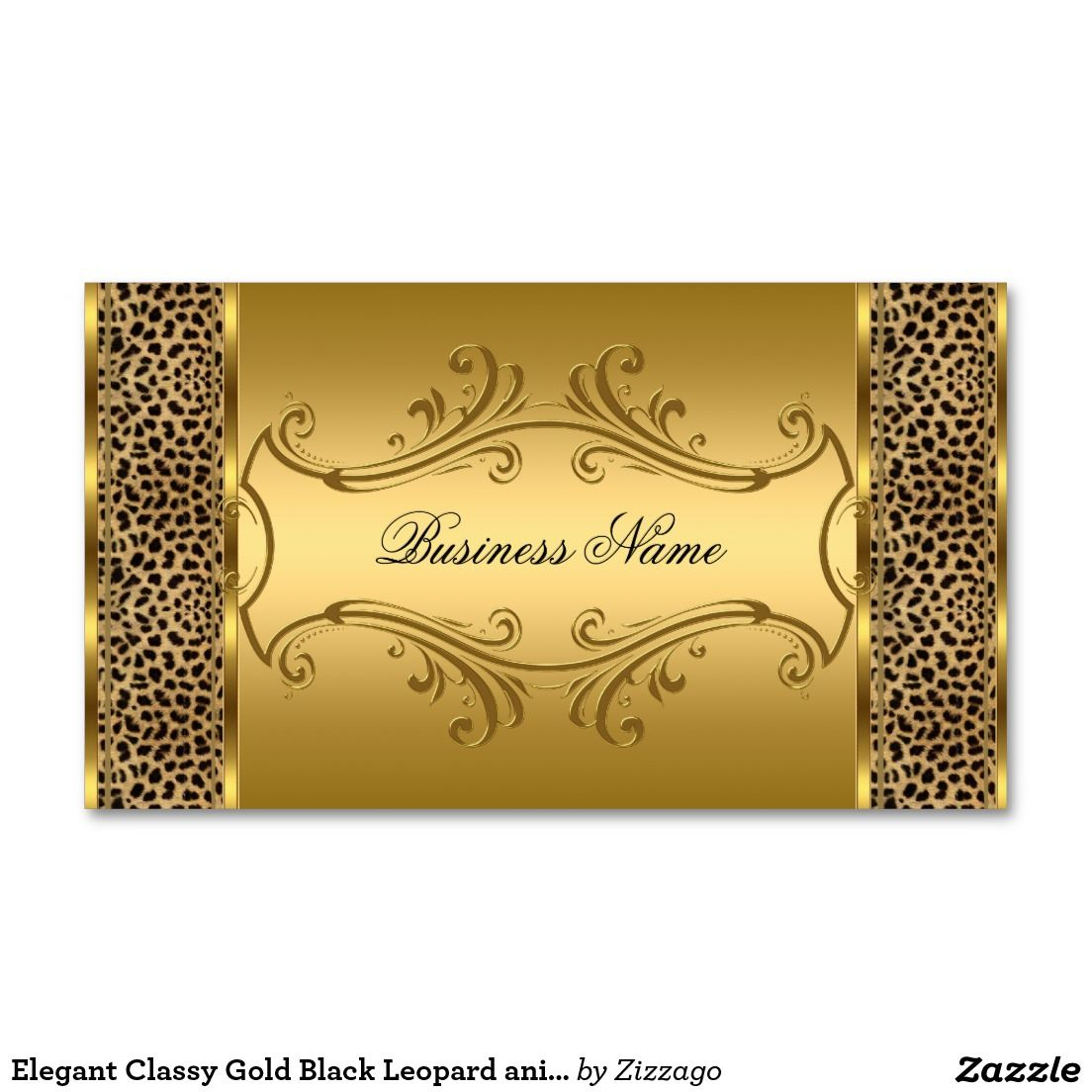 Elegant Classy Gold Black Leopard animal print Double-Sided Standard ...