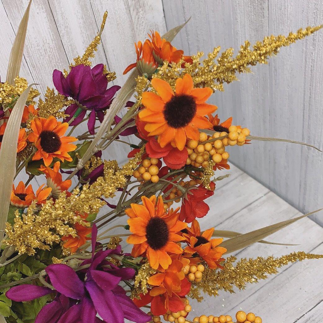 Beautiful fall combo of yellow orange mini sunflowers and ...