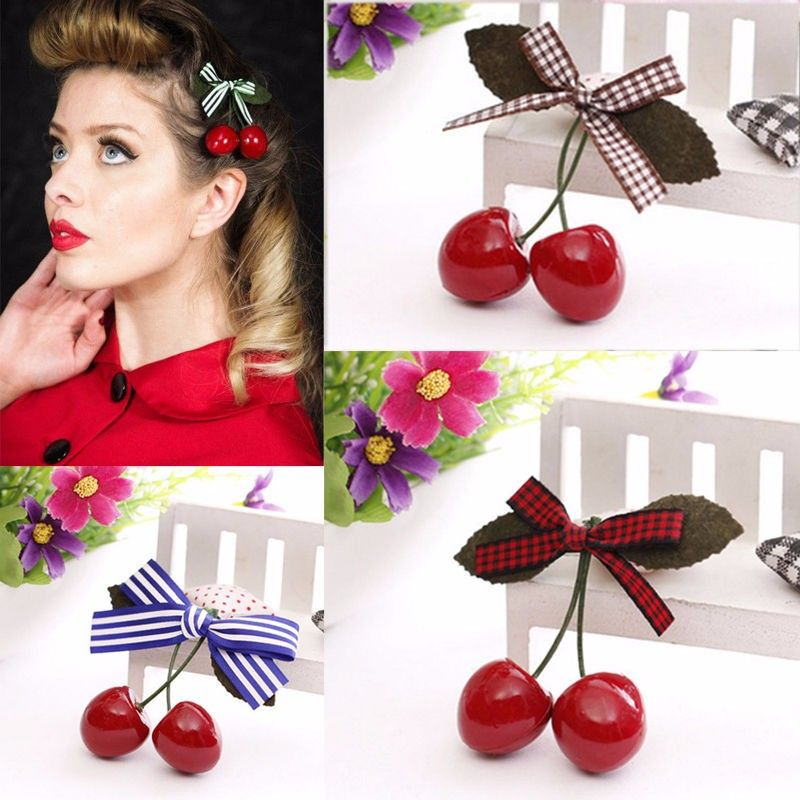 2016 1Pair Hot Sell Fashion Popular Women Cherry Bow Hair Clip Hairpins For Pinup Girls Vintage Party Vaction Hair Accessories-in Hair Accessories from Women's Clothing & Accessories on Aliexpress.com | Alibaba Group