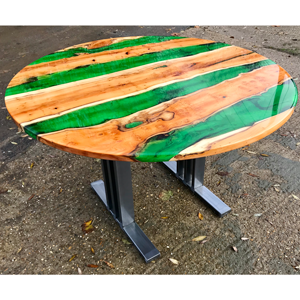 Yew Green Resin River Dining Table