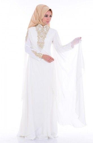 Sefamerve Dantel Detayli Abiye Elbise 6221 02 Ekru Elbise Dantel Giyim