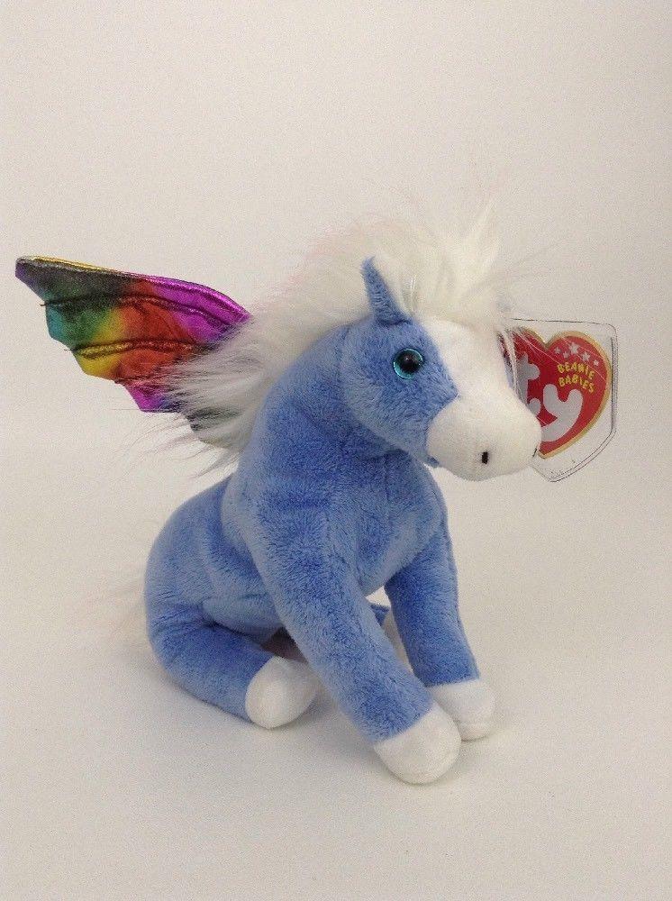 "2002 Ty Beanie Babies Rainbow & Blue Pegasus 8"" Plush"