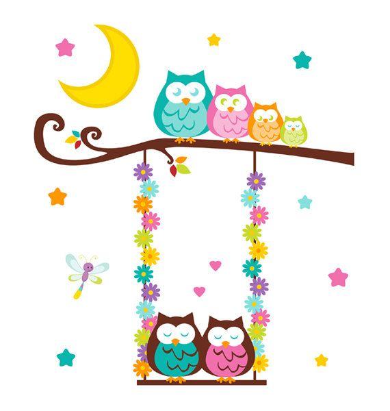 OWL TREE MURAL Swing Wall Art Girl Woodland Animal Nursery Stickers Room Decor…