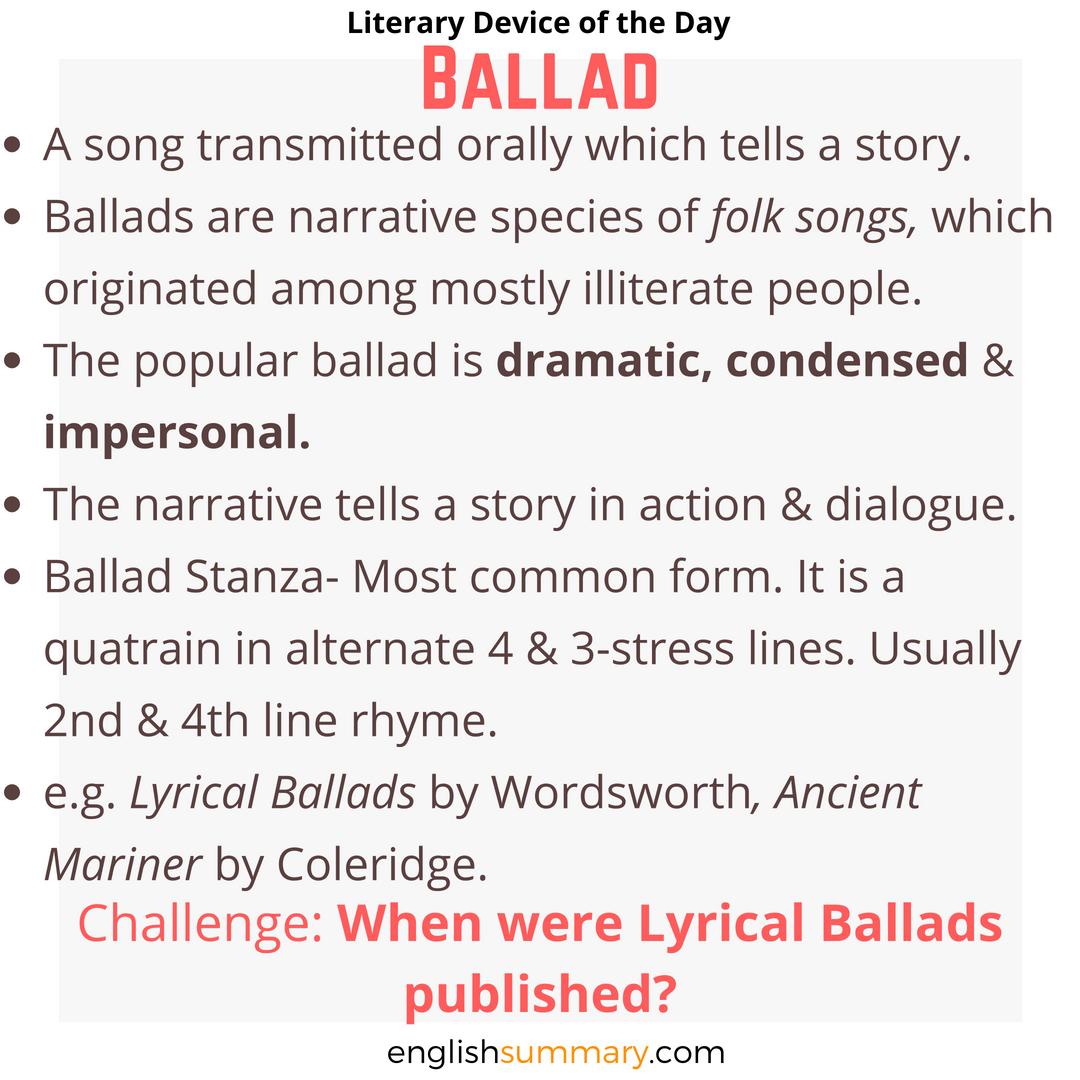 Ballad Definition Examples