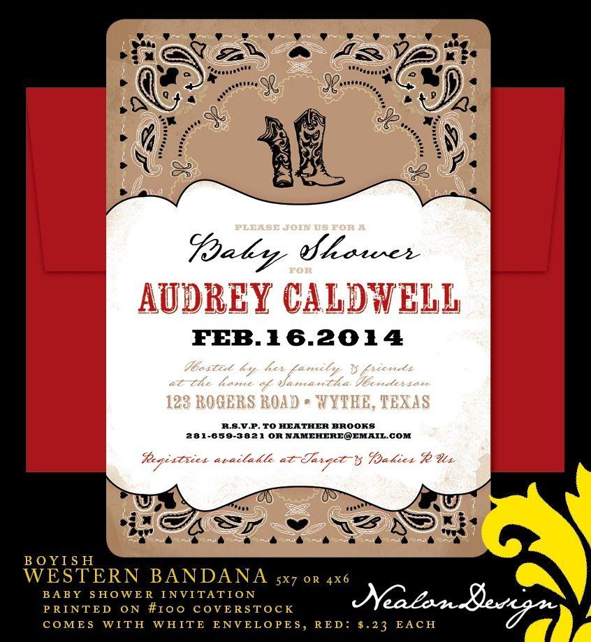 Nealon Design: WESTERN BANDANA Baby Shower Invitation | BABY ...