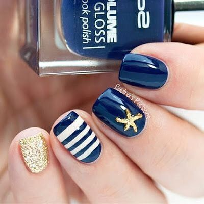 79 Pretty Mismatched Nail Art Designs Pretty Nautical Navy Blue