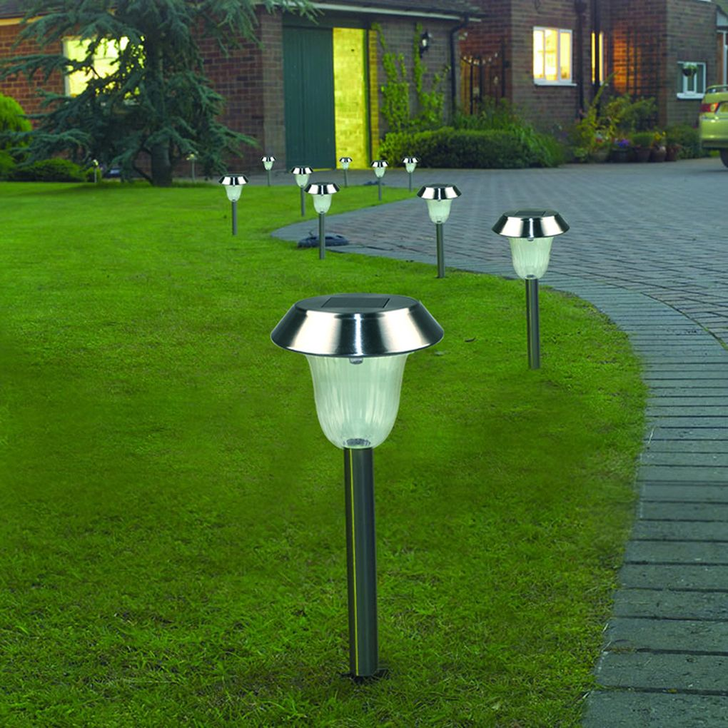 1 10 Pack Outdoor Stainless Steel Solar Pathway Lights Super Bright 15 Lumens Led So Solar Lawn Lights Outdoor Landscape Lighting Outdoor Lighting Landscape