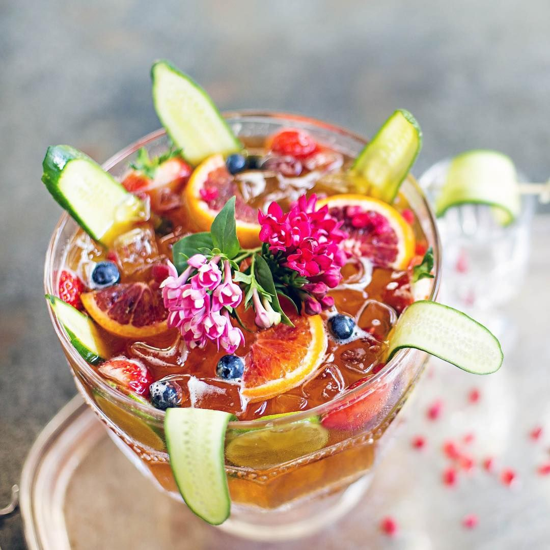 Tools down, feet up, with our Pimm's bowl loaded with Pimms and seasonal fruit. A refreshing way to while away the hours.
