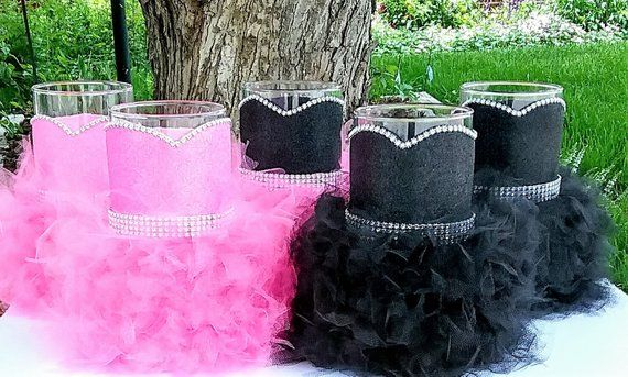 6 Pcs Pink And Black Centerpiece Set Pink And Black Birtday Party