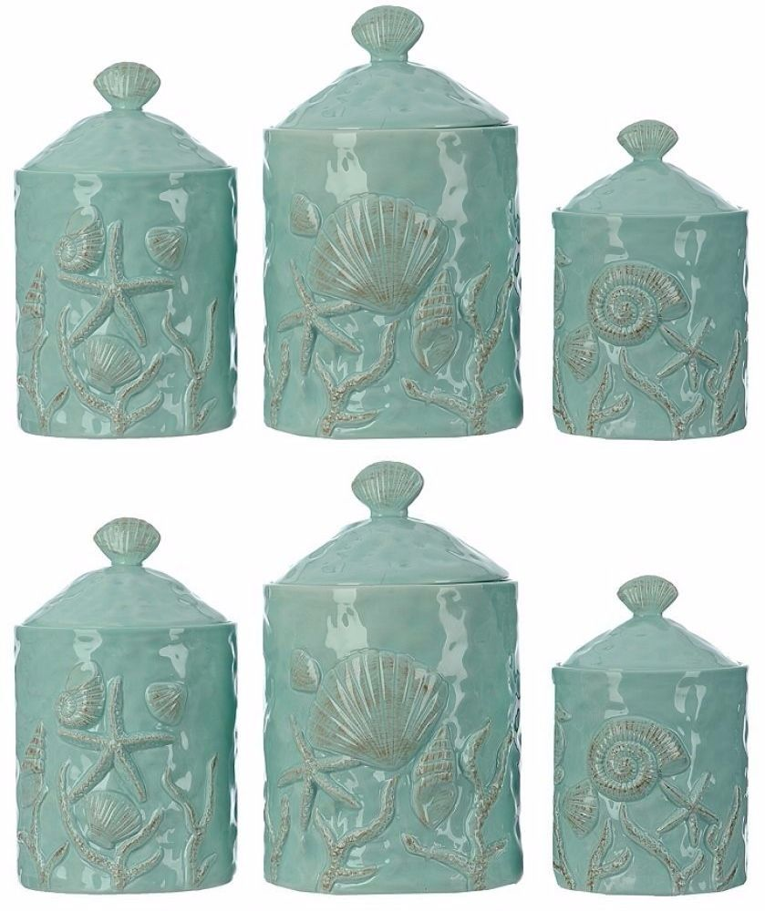 canisters and jars 20654 canister set 3 piece sea shell coastal canisters and jars 20654 canister set 3 piece sea shell coastal turquoise kitchen counter top