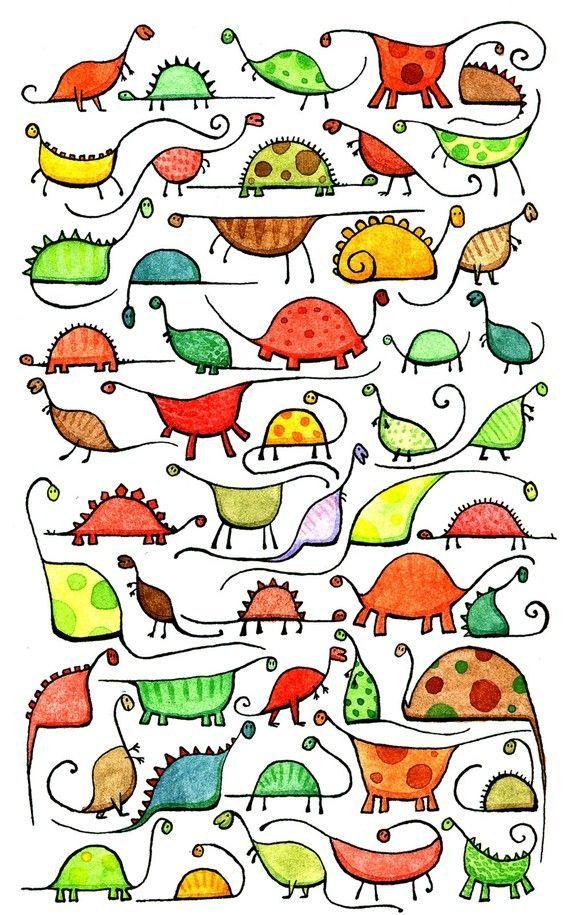 50 wunderliche, neugierige Dinosaurier. Dies ist ein Giclee Kunstdruck #dinosaur