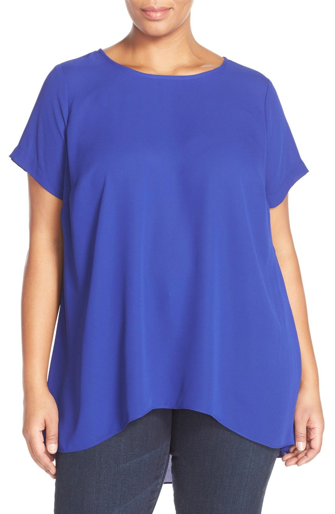 e6bff4bfd979f Vince Camuto Short Sleeve High Low Hem Blouse (Plus Size ...