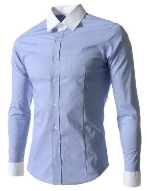 (BUTS06-SKY) Slim Fit Stretchy 2 Tone Stripe Pattern Long Sleeve Shirts