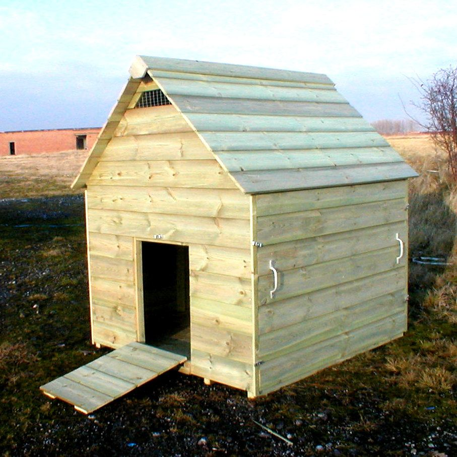 Goose house i like that whole side comes off for easy for Domestic duck house plans