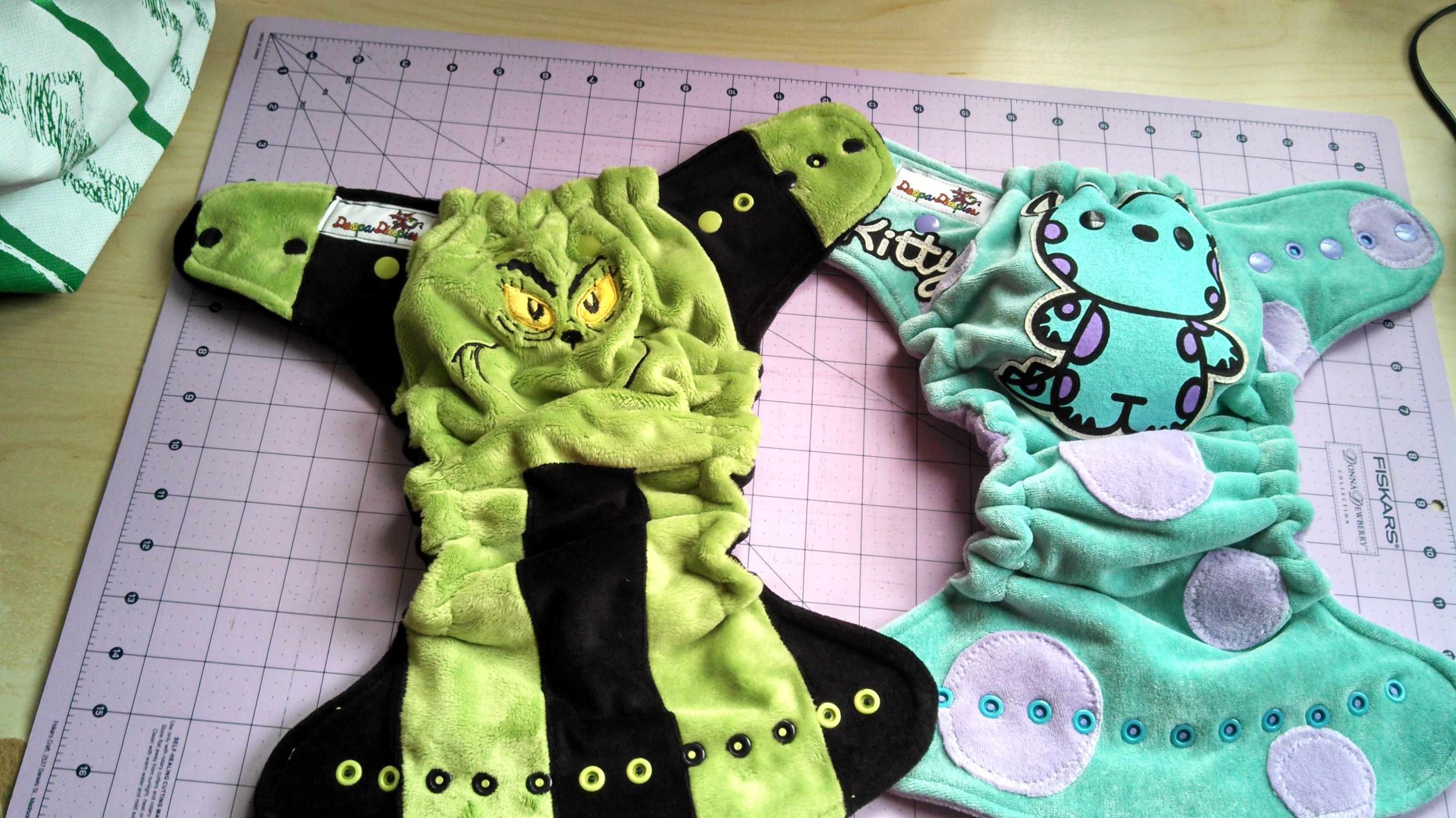 Grinch and Kitty (Sully) Fitted Diapers