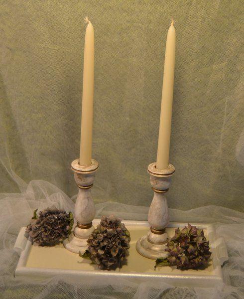 Tablett mit 2 Kerzenständer von www.geschenke-tee-keramik.de