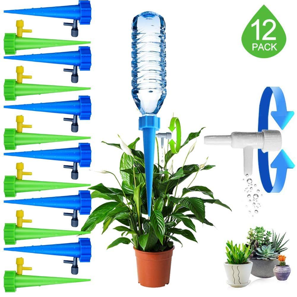 24 Self Watering Spikes Adjustable Plant Watering Spikes Automatic Watering Devices with Slow Release Control Valve Switch for Outdoor Indoor Plants