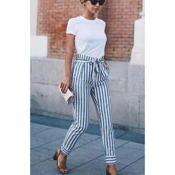Streetwear striped harem pants loose casual pants women 2018 Summer trousers higheavengifts