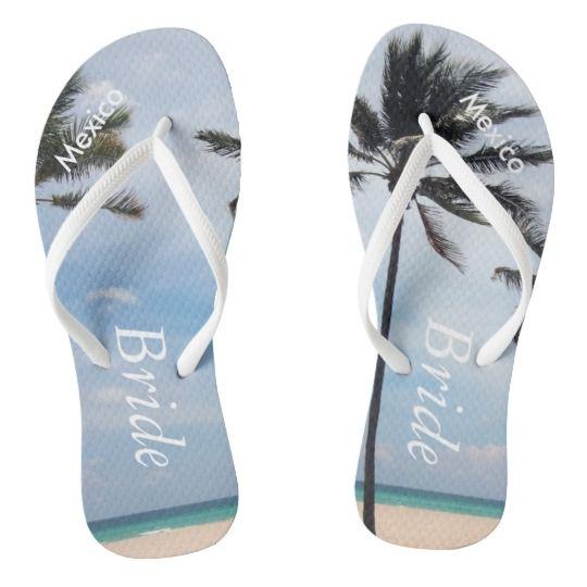 0ff64c71ed0db Palm Tree I Wedding Flip Flops Bride Beach Sandals