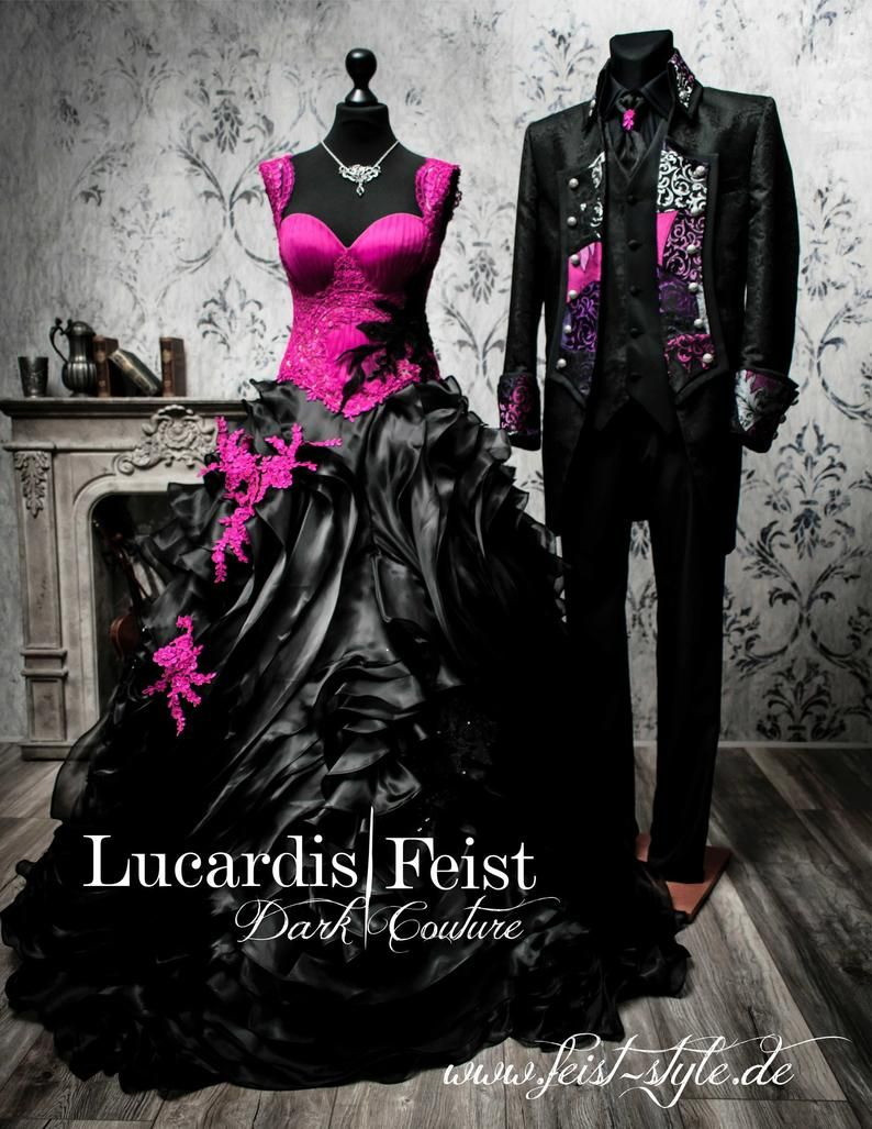 Exceptional Black Pink Gothic Wedding Gown Original From Feist Style In 2021 Unusual Wedding Dresses Gowns Gothic Wedding [ 1027 x 794 Pixel ]