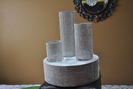 Set of 3 Bling Cylinder Vases by MyKreations4U on Etsy, $35.00