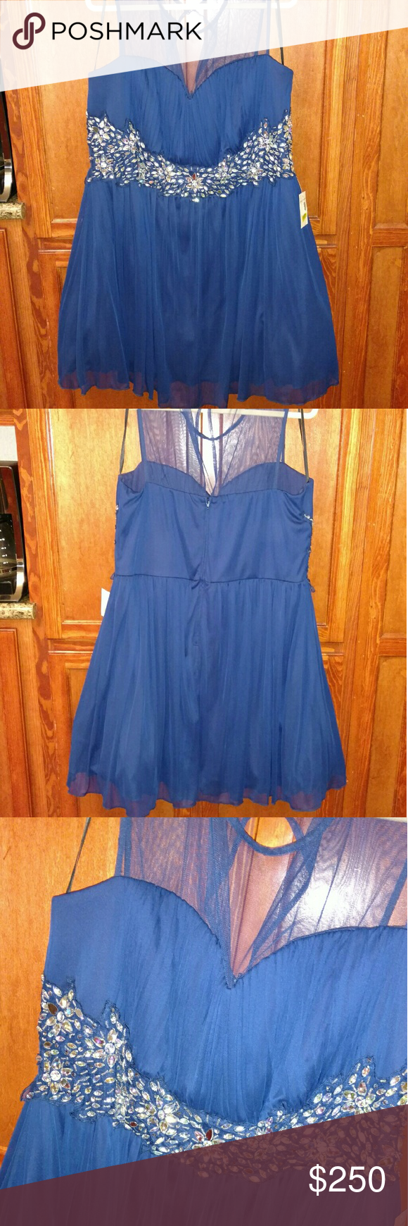 B darlin navy dress with jem flower design flower designs dress