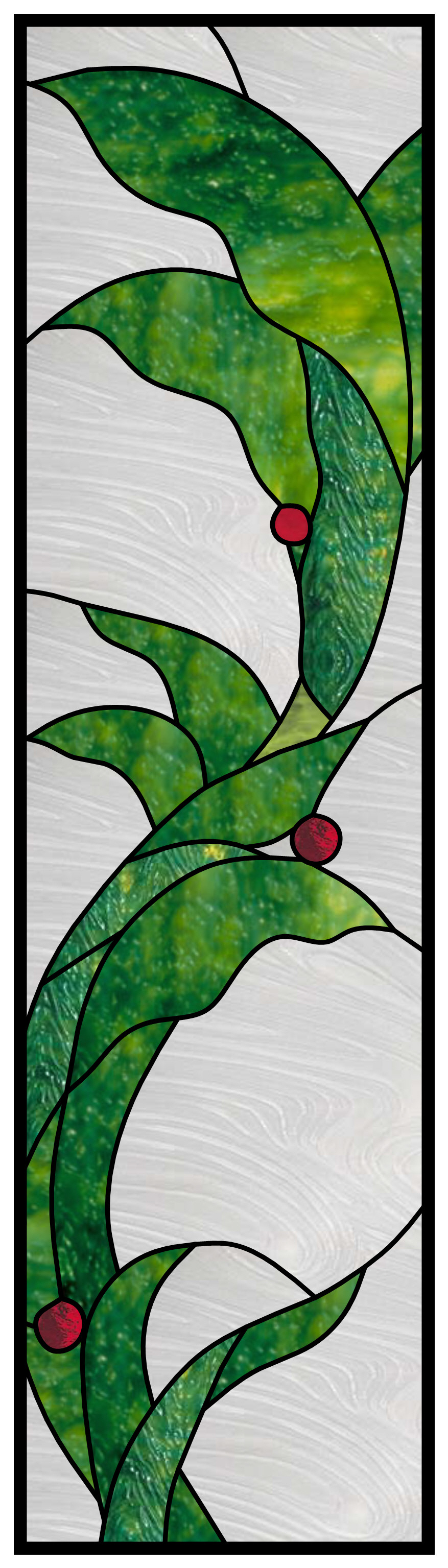 stained glass window panel - leaf swirl