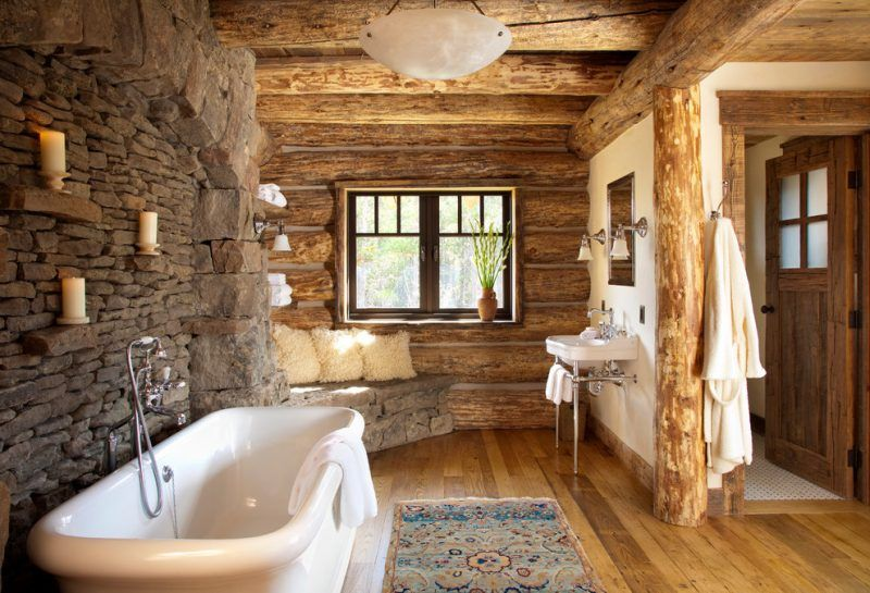 Bad Wandverkleidung Mit Holz Warum Denn Nicht Badezimmer Wandverkleidung Zenideen Rustic Cabin Bathroom Rustic Bathrooms Log Cabin Bathrooms
