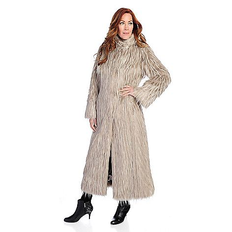 Pamela Mccoy Black Diamond Tissavel Faux Fur Full Length