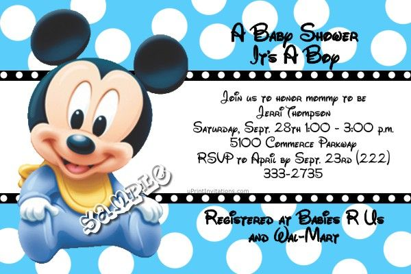 Mickey mouse disney baby shower invitations all colors zazus mickey mouse disney baby shower invitations all colors filmwisefo Images