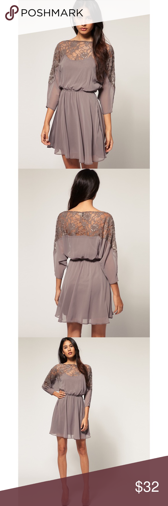 ASOS Dress with Lace Top Super cute! Good condition, worn a few times. Stock photos included to show fit. Asos Dresses