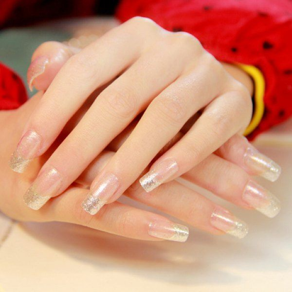 24 Pcs Simple Glitter Powder Transparent Nail Art False Nails