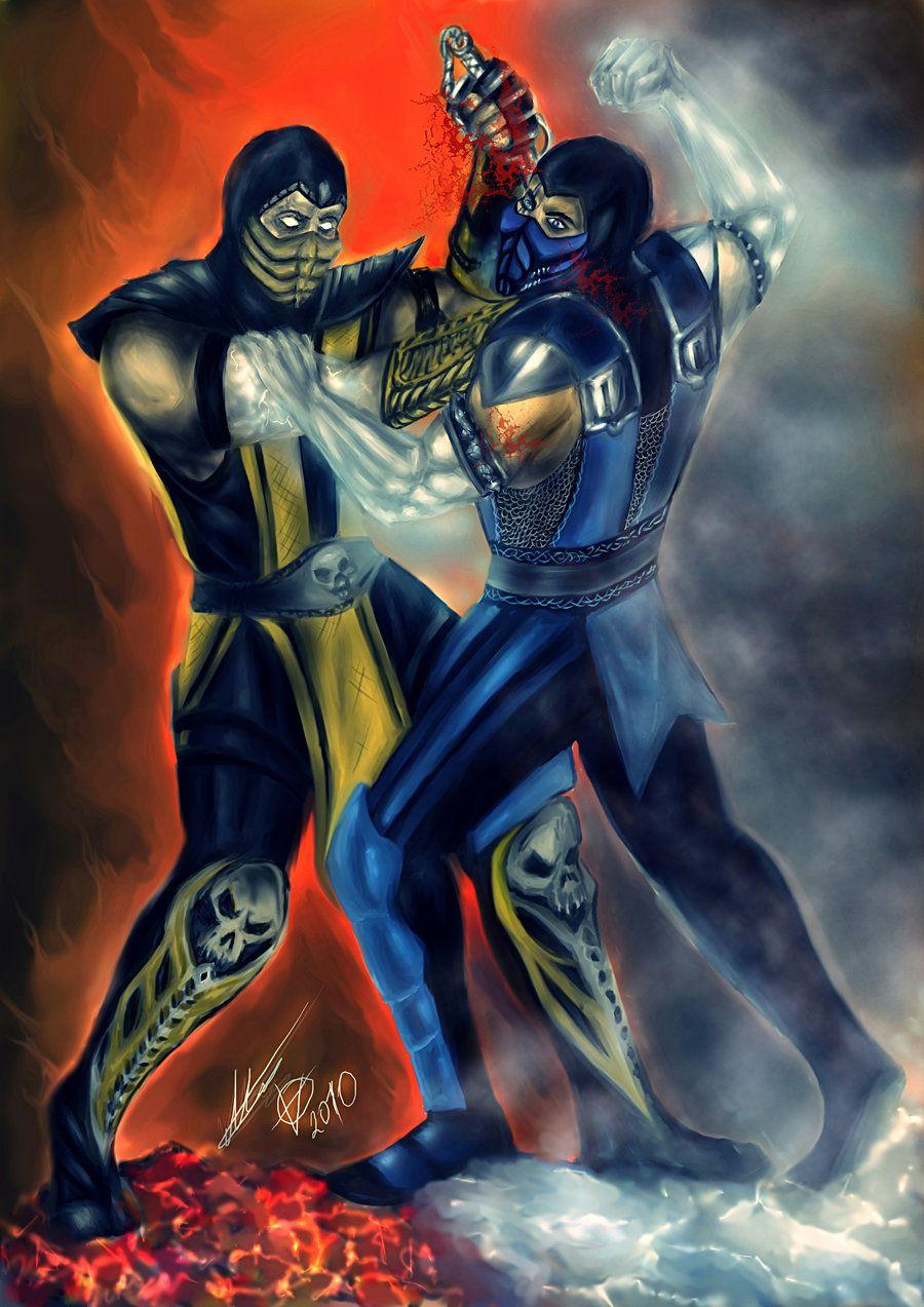 Scorpion Vs Sub Zero By Blackknight1987 Deviantart Com On Deviantart Dragon Ball Artwork Mortal Combat Mortal Kombat Art Sub zero vs scorpion mortal kombat