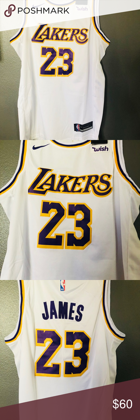 half off 64172 f6cc0 NWT Lebron James Laker Jersey White 🔥🔥 Excellent quality ...