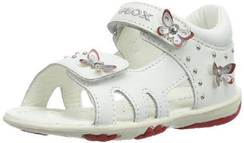 Geox B SANDAL NICELY A - Zapatos primeros pasos de cuero para niña, color blanco, talla 21