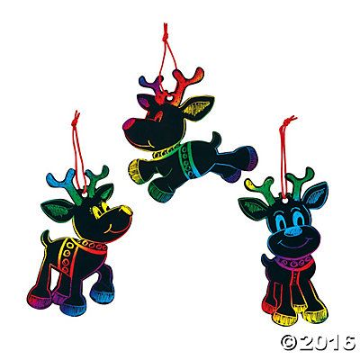 Magic Color Scratch Reindeer Christmas Ornaments