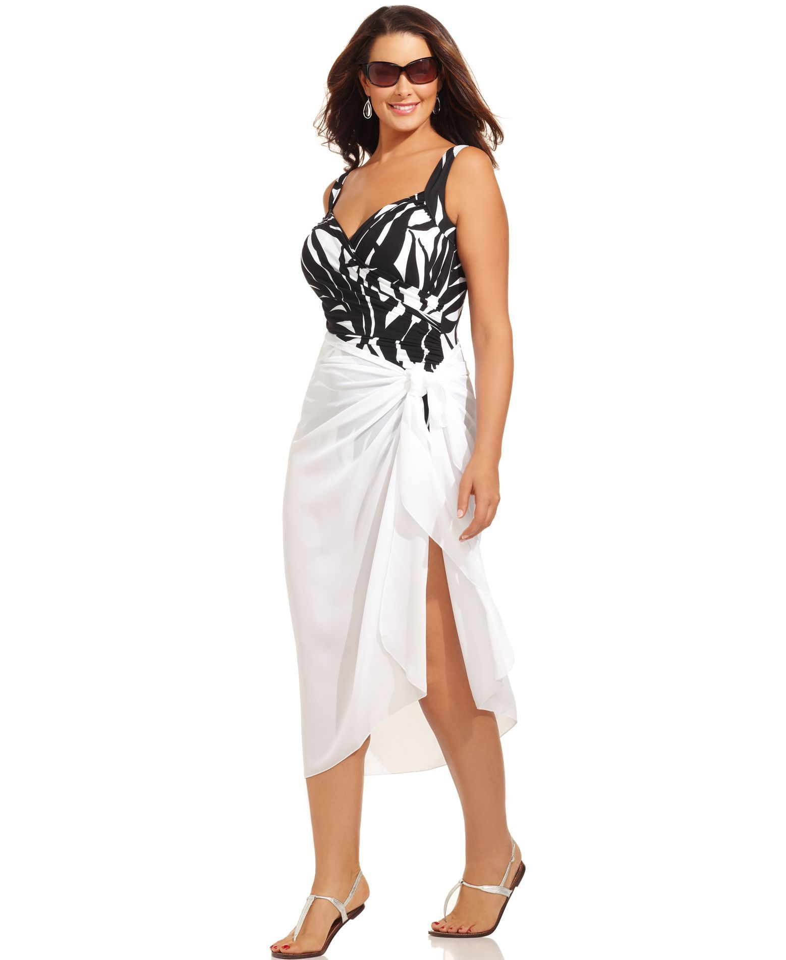 872684150b42b Dotti Plus Size Cover Up, Self-Tie Pareo Sarong | Swim Wear | Plus ...
