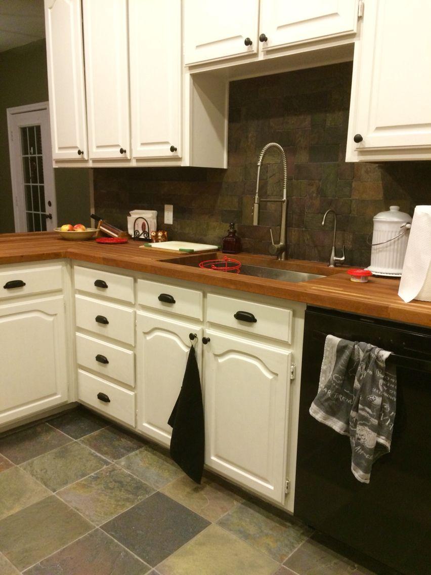 - Slate Floors Installed. Slate Backsplash, Butcher Block Counters