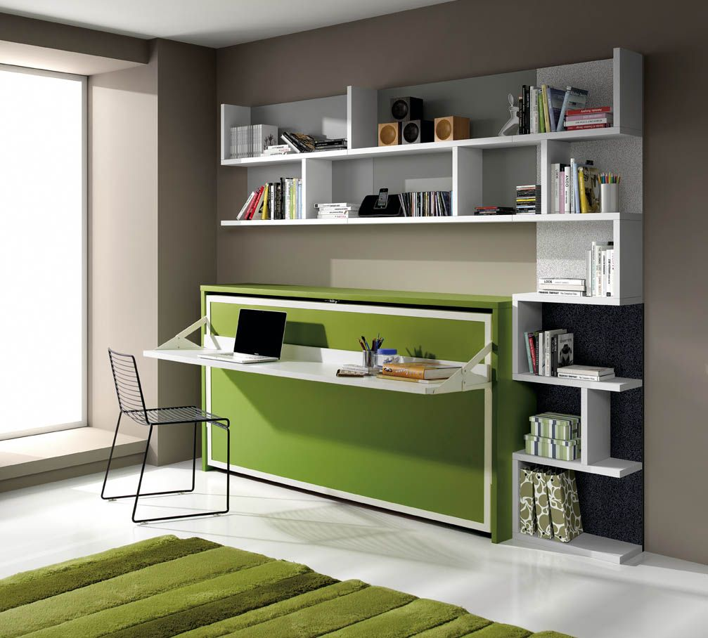 Bureau int gr avec option biblioth que lit escamotable for Bureau avec rangement integre